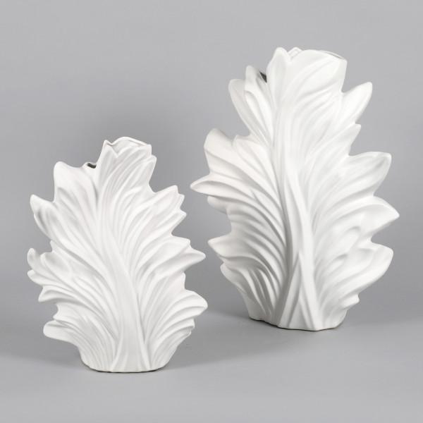 Keramik Vase Petalo geschwungen weiß matt
