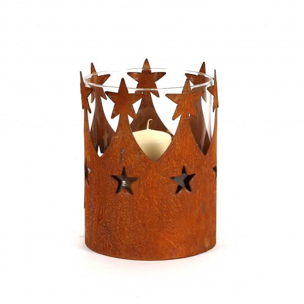 Windlicht Sternenkorne mit Glaseinsatz D23 cm H 26 cm rost