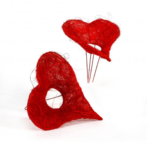 Sisal-Bindehilfe Herz , D.15 cm, rot