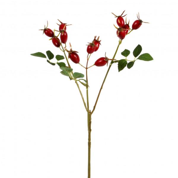 Hagebuttenpick mit Laub, rot 40 cm