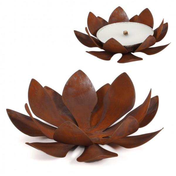 Metallflammschale Flower 28x28 x17 cm rost