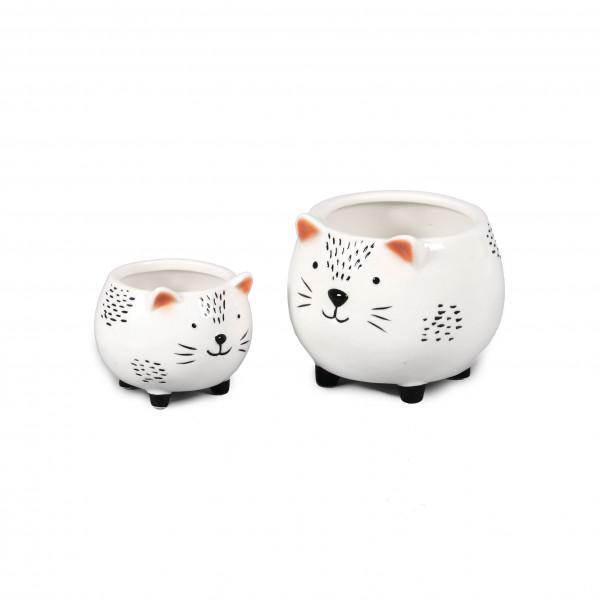 Keramik-Pflanz Katze, schwarz - weiß glasiert