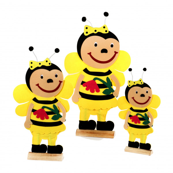 Biene Lara auf Holzbase,Filz