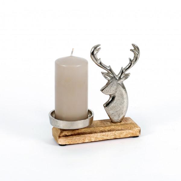 Kerzenhalter Hirschkopf Alu-Holz 15x17x5 cm
