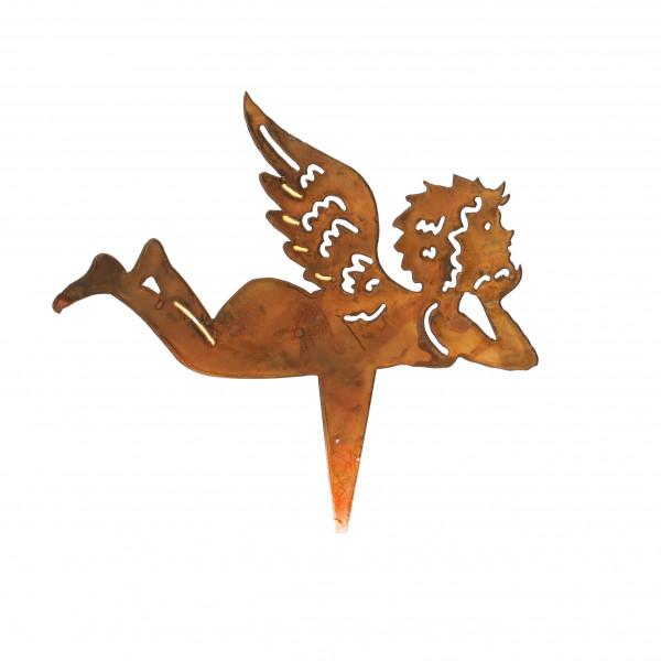 Metall-Stecker rost, Engel liegend 16x17 cm
