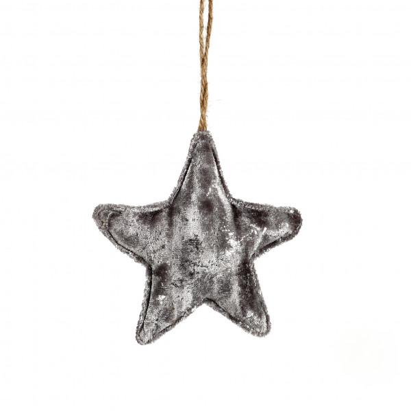Stern z.Hängen Auaris Textil silber, 18x5 cm