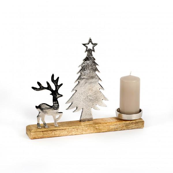 Kerzenhalter Baum und Hirsch Alu-Holz 27x27x8