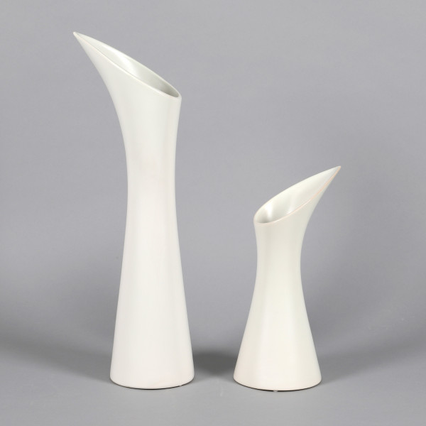 Keramik Vase Calla-Design matt weiß glasiert