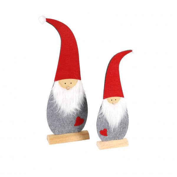 Filz-Santa mit Herz, stehend, grau-rot