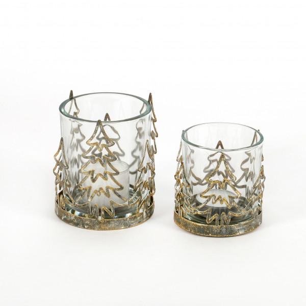 Teelichtglas Baum Glas Metall