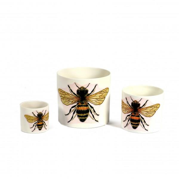 Keramik-Zylindertopf mit Bienen-Dekor weiß glasiert