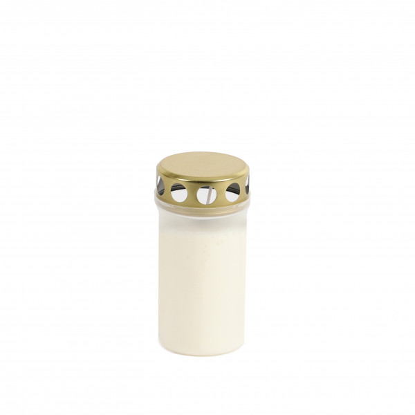 Grablicht m. goldenem Deckel weiß 20/TRY H12cm D5,5 cm Brenndauer 53Std.