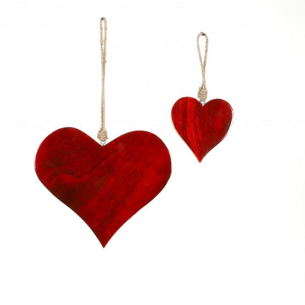 Herz Glossy Holz z.Hängen,rot transparen