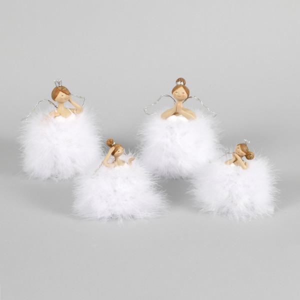 Poly Engel Arara 2Mod.sort. mit Stoff Kleid und LED-Flügel, weiß