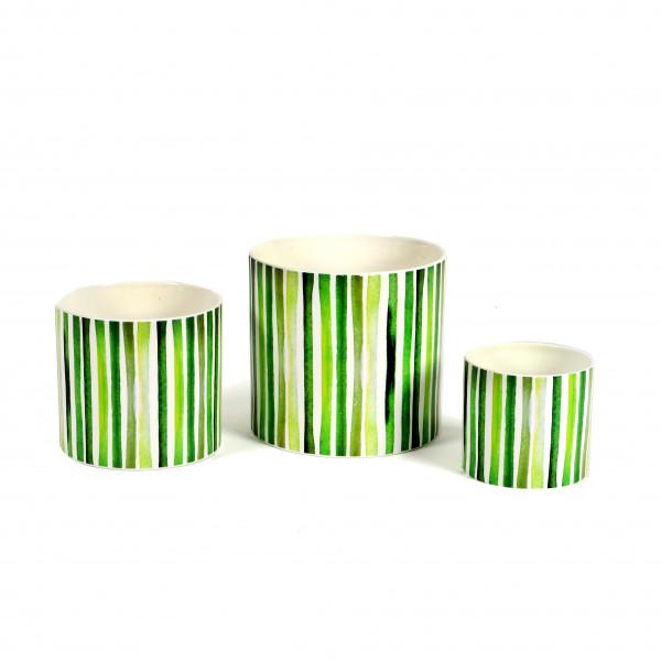 Keramik-Zylindertopf, green-strips
