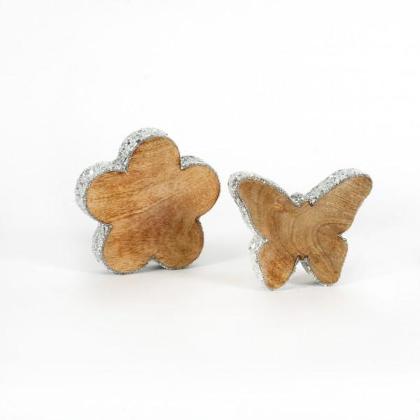 Blume Lustrino Holz m.weissen Perlen, 15x15x4 cm
