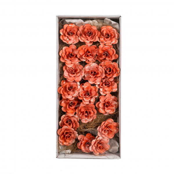 Deco Plam Rose 8 cm am Draht (Fensterkar ton x 20 St.) orange white washed