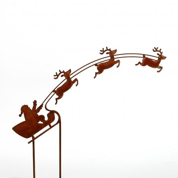 Weihnachtsmann Santa mit Schlitten 60 cm am Stab