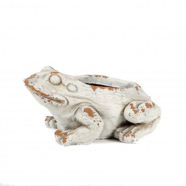 Magnesia Pflanz-Frosch, 39x28xh20 cm weiß antik