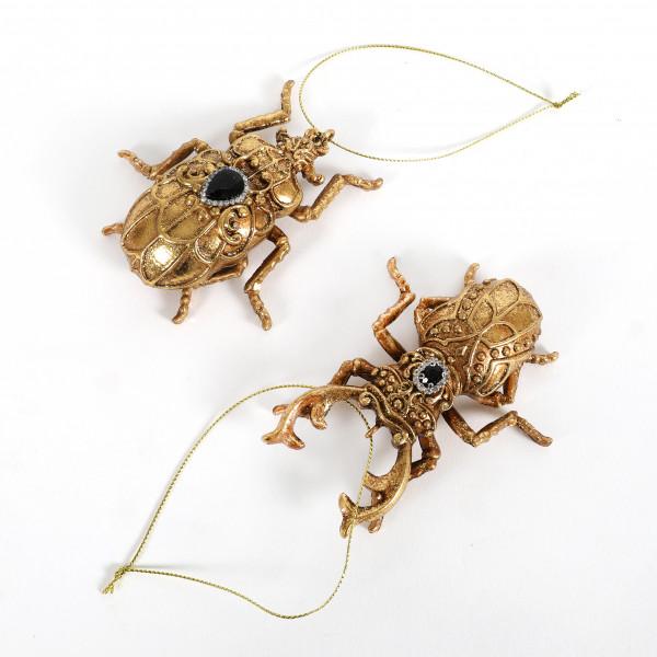 Polyresin Käfer mit Ornament und Schmuckstein, gold, 2 Mod sortiert