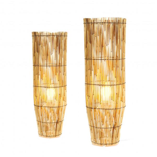 Elektrische Boden-Lampe aus Rattan natur