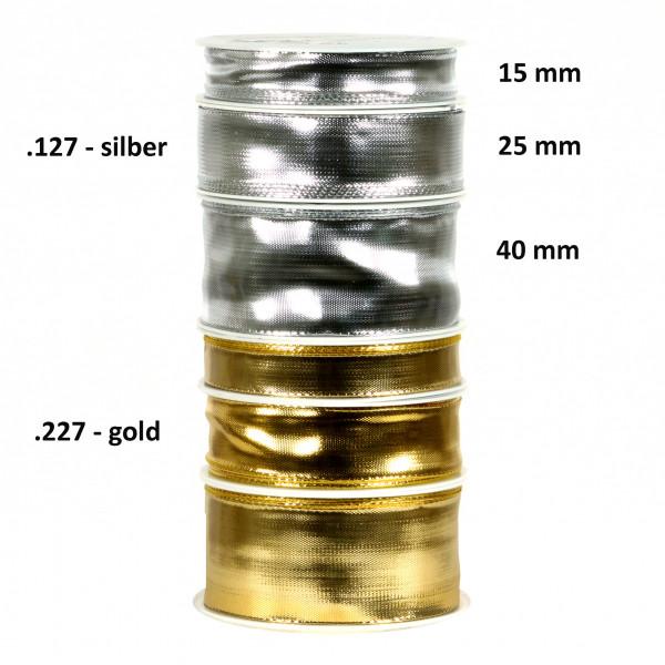 (9600) Lameband mit Draht 40mm 25m silber glänzend