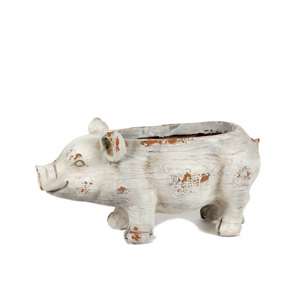 Magnesia Pflanz-Schwein, 47x22xh22 cm weiß antik