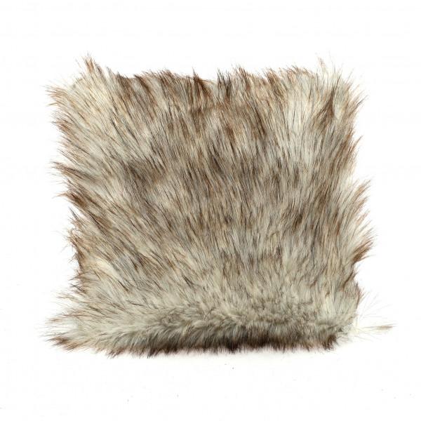 Deko-Kissen mit langhaar-Fell,36x36cm braun/weiß