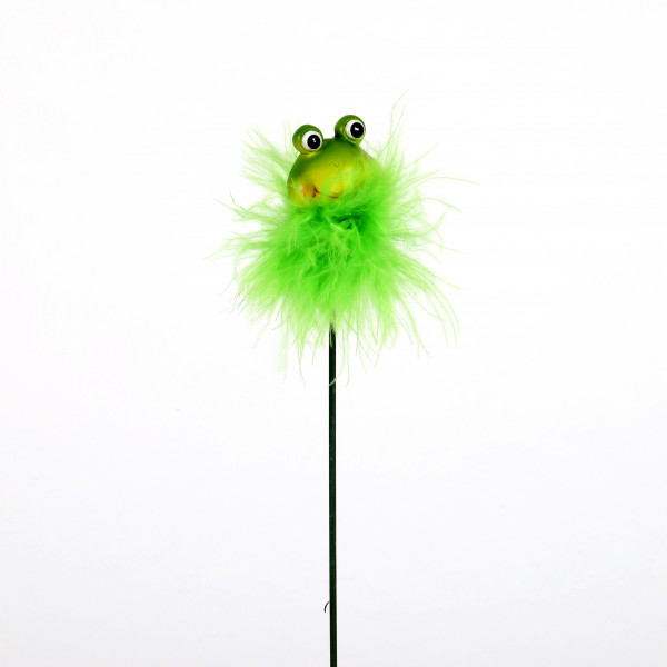 Poly Frosch-Stecker, grün m.Plüsch 5x3cm, Länge Metall-Stecker 10cm
