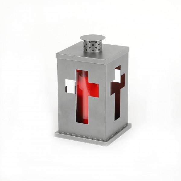 Grablaterne Kreuz z.stellen mit Dach Metall, grau, 13x13x21.5cm