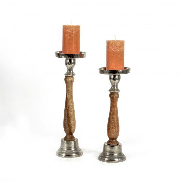 Stumpenkerzenhalter Skive Holz -Alu poliert