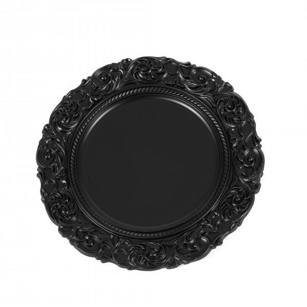 Kunststoff-Teller rund, 36x36x2,5cm Barocker Rand, schwarz matt
