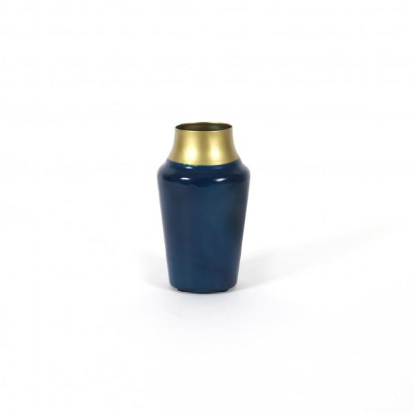 Vase Orebro Metall, dk. blau-gold 15x8,5 cm