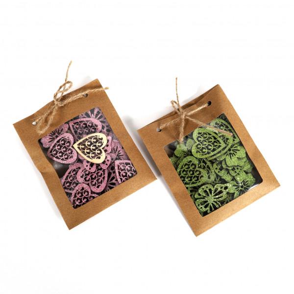 Streudeko Blume/Herz/Schmetterling Holz, 3 Mod. VE = 24
