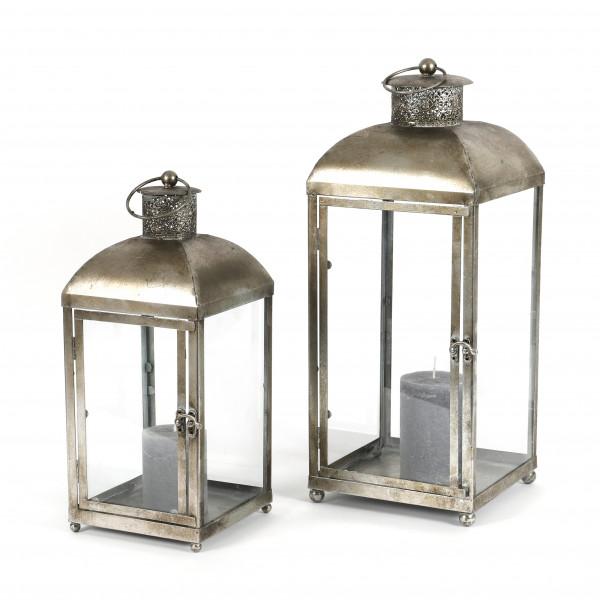 Laterne Arausio Metall, S/2 50x20x20/40x17x17 cm, antik champagner