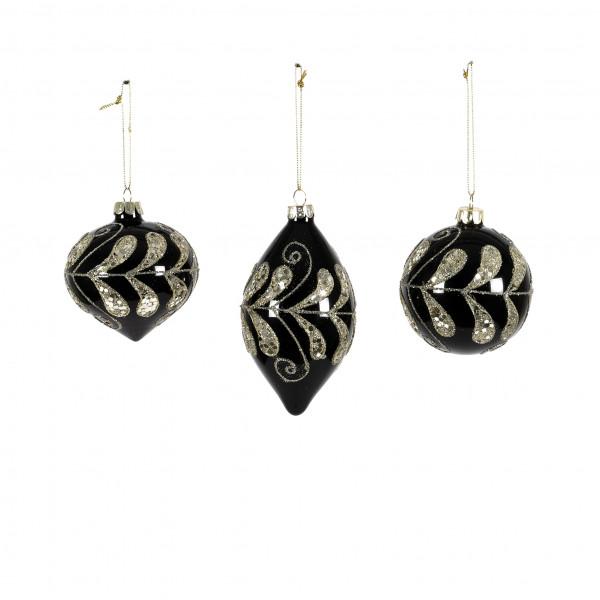 Christbaumkugel Black and Gold Glas Schwarz-gold, 3 Mod. 8/8 und 6x13 cm