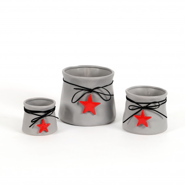 Keramik Topf Sky tailliert, grau mit Sternhänger in rot