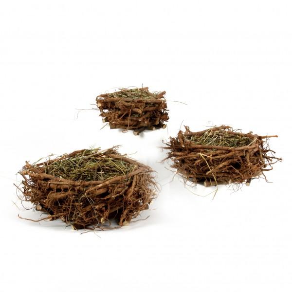 Holz-Stöckchen Nest, mit Stroh