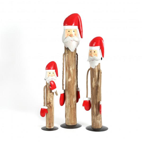 Santa mit Baumelarmen, Holz-Metall