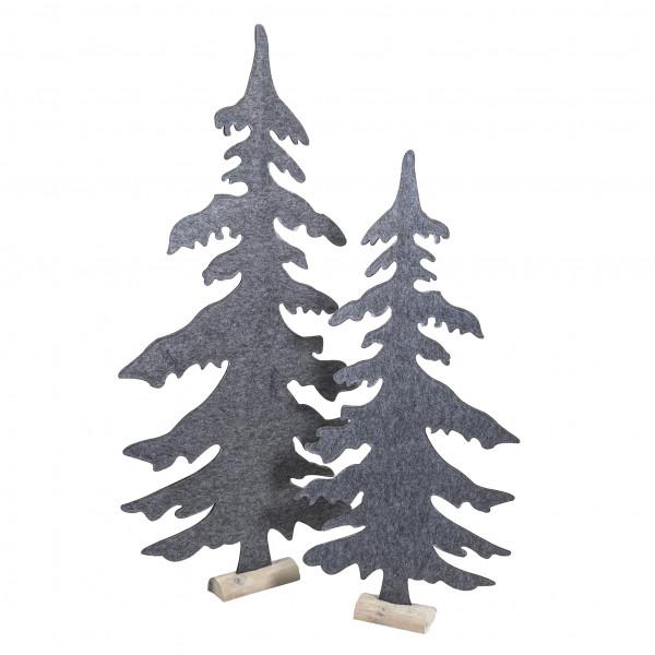 Baum, Filz auf Holzbase, grau