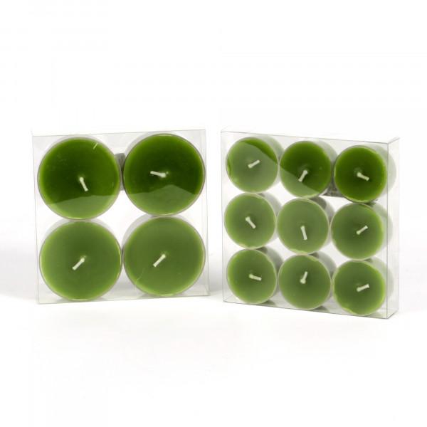 Teelicht, durchgefärbt, Box/9 St., grün