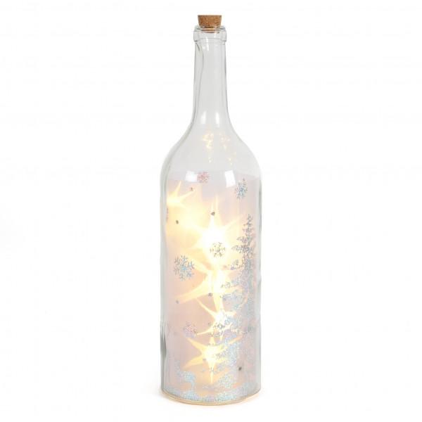 Glasflasche mit 10 LED D 12x45cm groß Winterwonderland + Timer Glitzerfolie