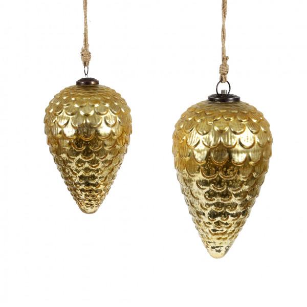 Deko Zapfen Aurum Glas 21x13x13 cm gold