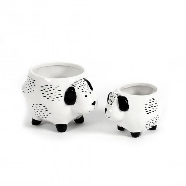 Keramik-Pflanz Hund, schwarz - weiß glasiert