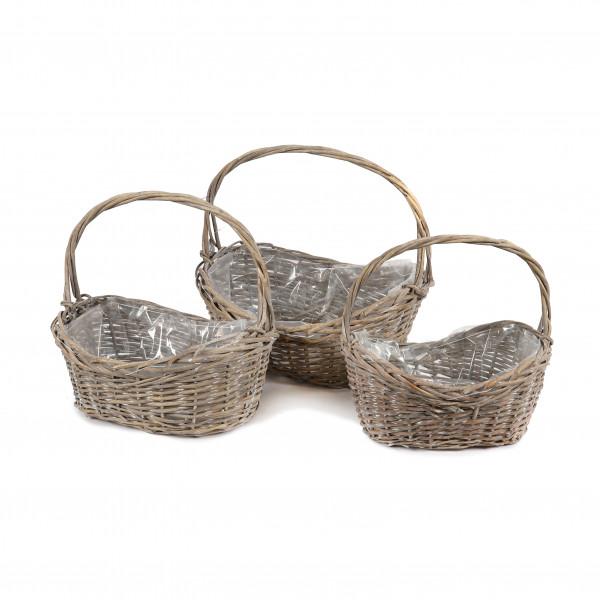 Weiden Korb oval mit Bügel, Set/3 grau-antik,44x32xh20/38x28xh18/32x24xh16