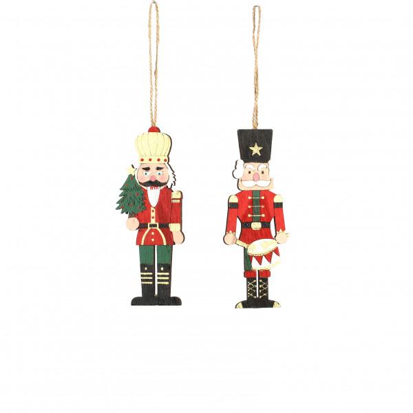 Holz-Nussknacker zum hängen, 2 Mod sort, 6x15x0,5/5,5x15x0,5cm mit Trommel/Baum