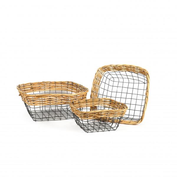 Draht-Korb,Schale quadr.Set/3 grau m.Rattan Rand,40x18/34x15/28x13.5cm