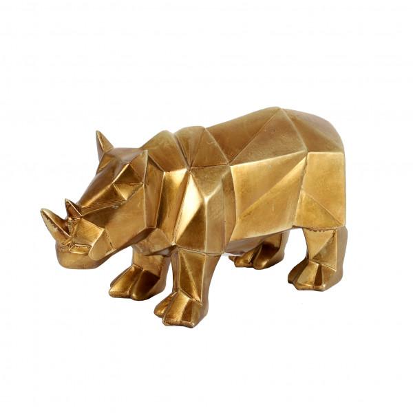 Poly Deko Rhinoceros Origami gold 29.5x12x15 cm