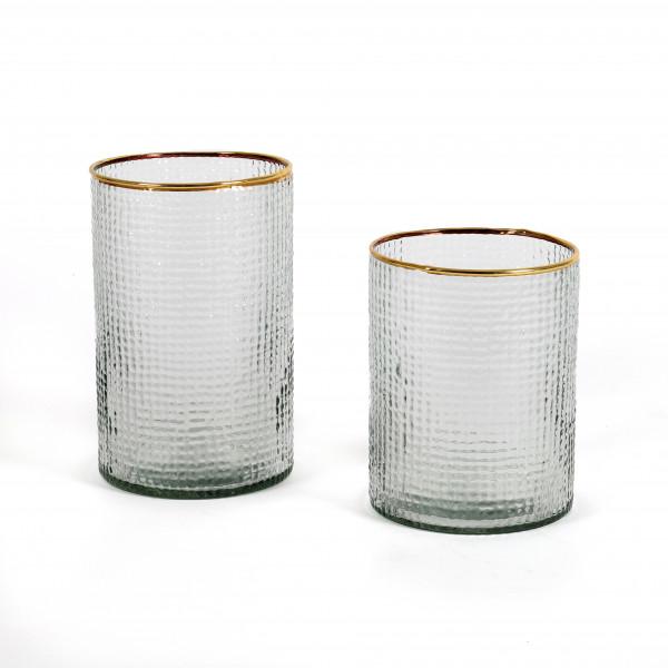 Zylinder Avignon Glas, klar mit Goldrand