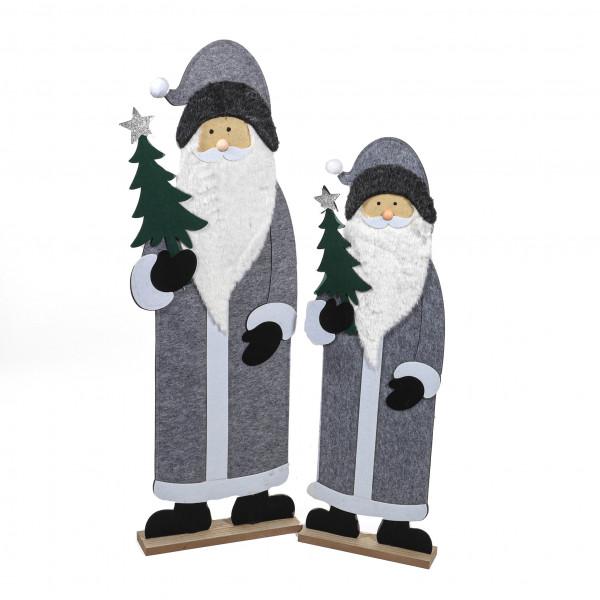 Weihnachtsmann, Filz auf Holzbase, grau